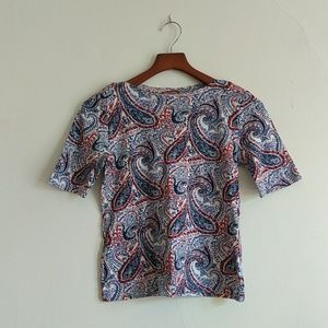 Charter Club red blue white Paisley print top S